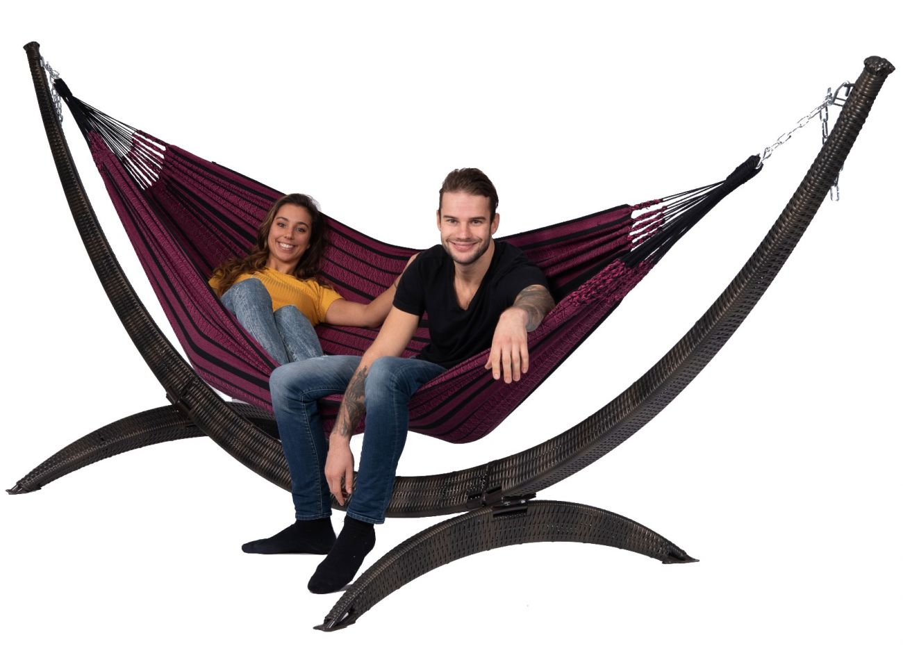 Hammock with Family Stand Wicker & Black Edition Rose
