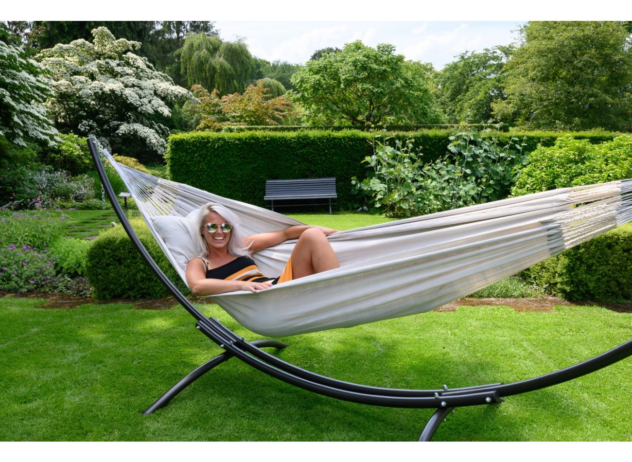 Hammock with 2 Persons Stand Arc & Comfort Pearl