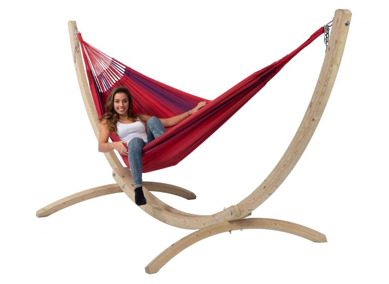 Hammock with Family Stand Wood & Refresh Bordeaux