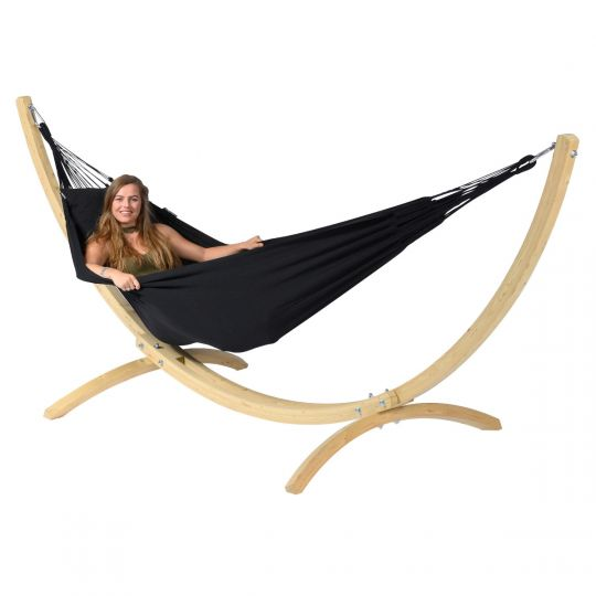Hammock with 1 Person Stand Wood & Classic Black