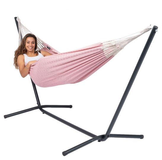 Hammock with 1 Person Stand Easy & Natural Pink