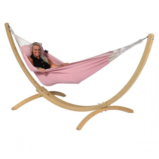 Hammock with 1 Person Stand Wood & Natural Pink