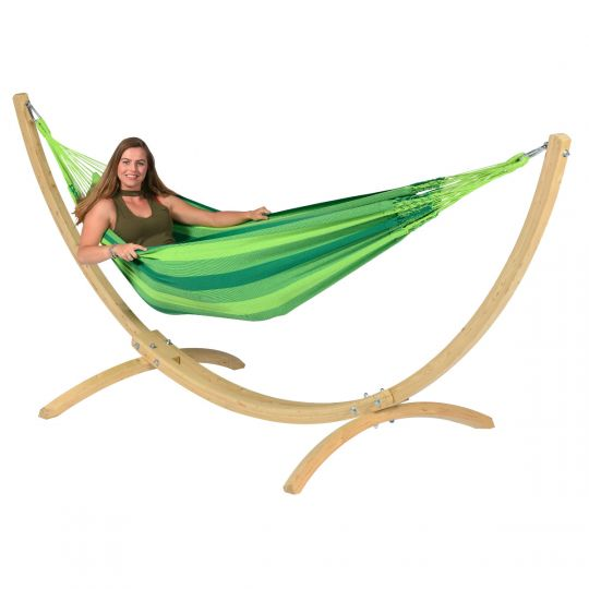 Hammock with 1 Person Stand Wood & Dream Green