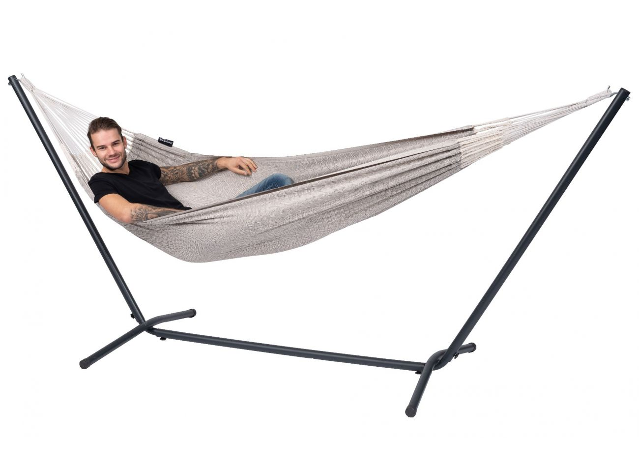 Hammock with 1 Person Stand Easy & Natural Brown
