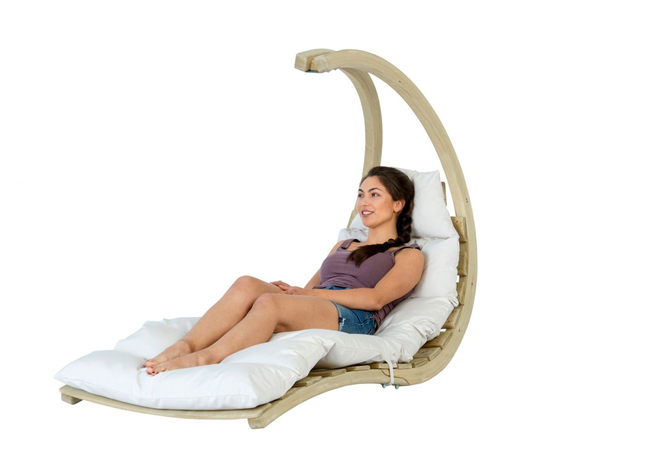 Hanging Chair 1 Person Swing Lounger Creme