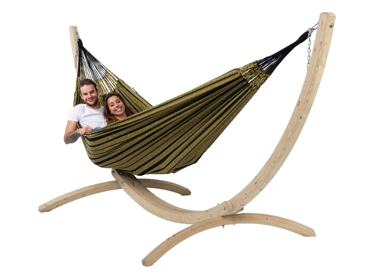 Hammock with Family Stand Wood & Black Edition Gold