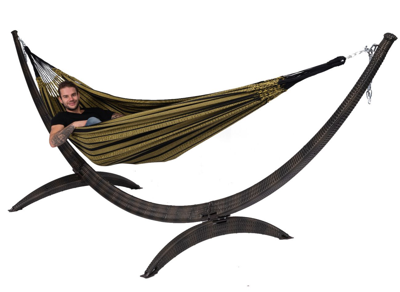 Hammock with Family Stand Wicker & Black Edition Gold