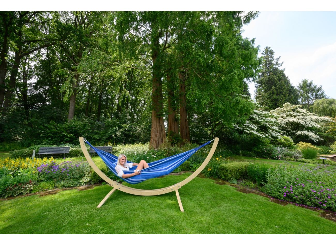 Hammock with 2 Persons Stand Wood & Chill Calm