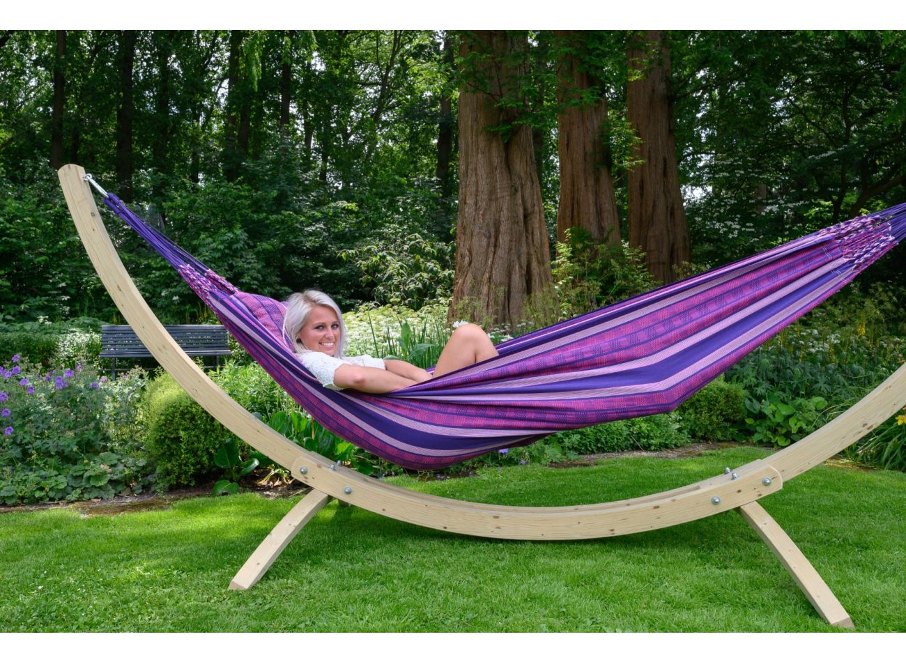 Hammock with 2 Persons Stand Wood & Chill Love