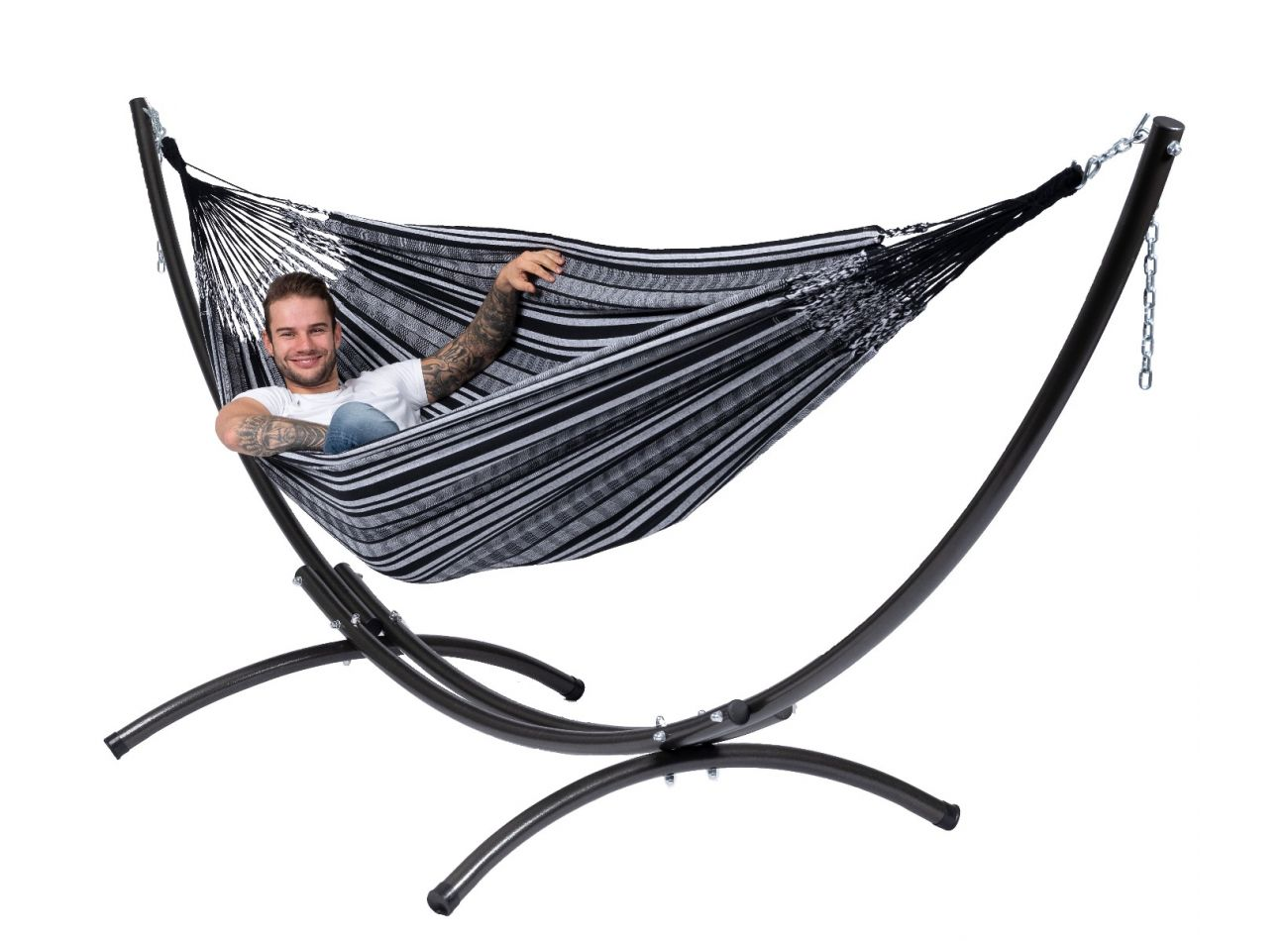 Hammock with 2 Persons Stand Arc & Comfort Black White