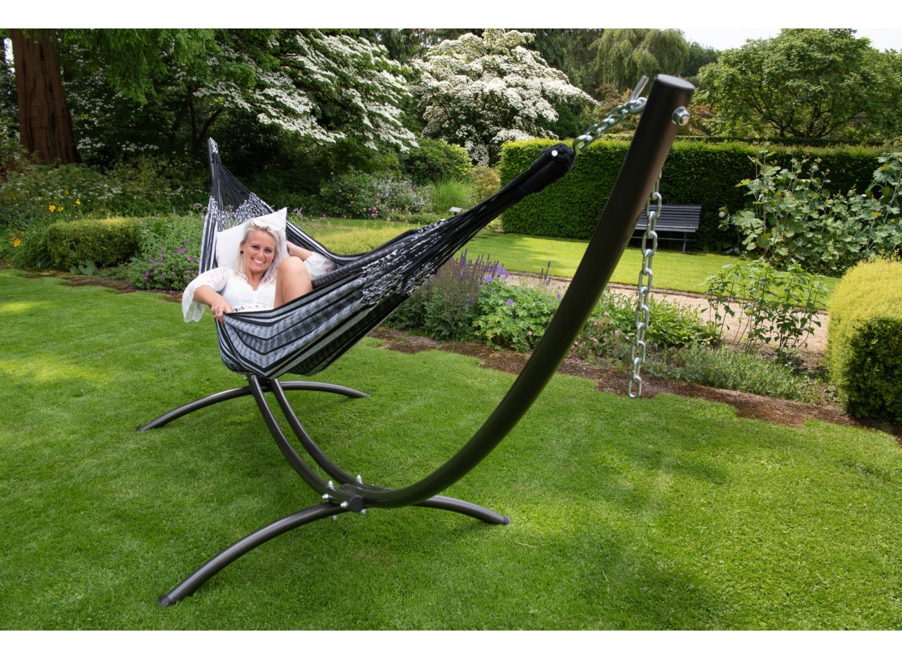 Hammock 2 Persons Comfort Black White