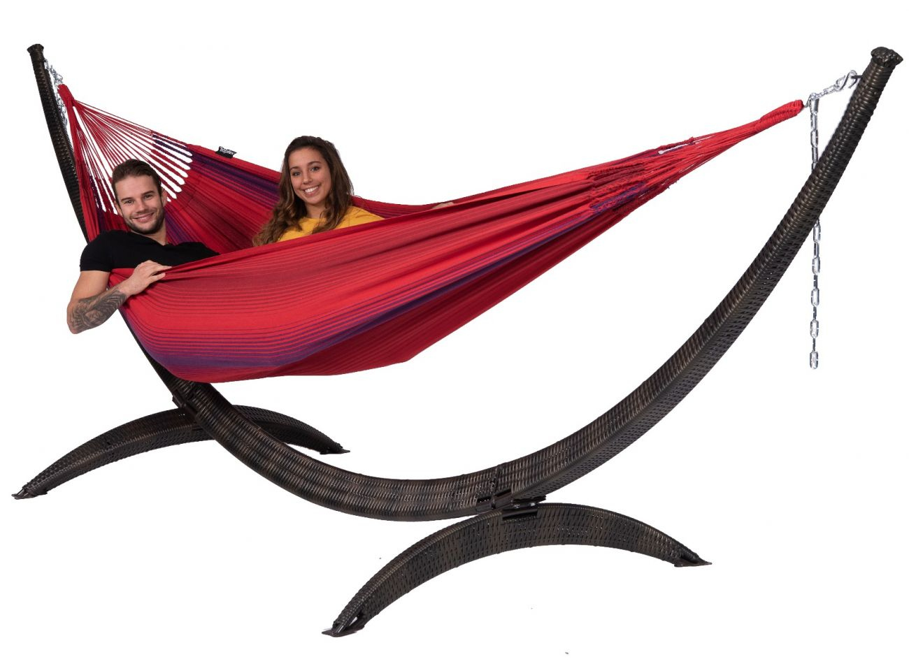 Hammock with Family Stand Wicker & Refresh Bordeaux
