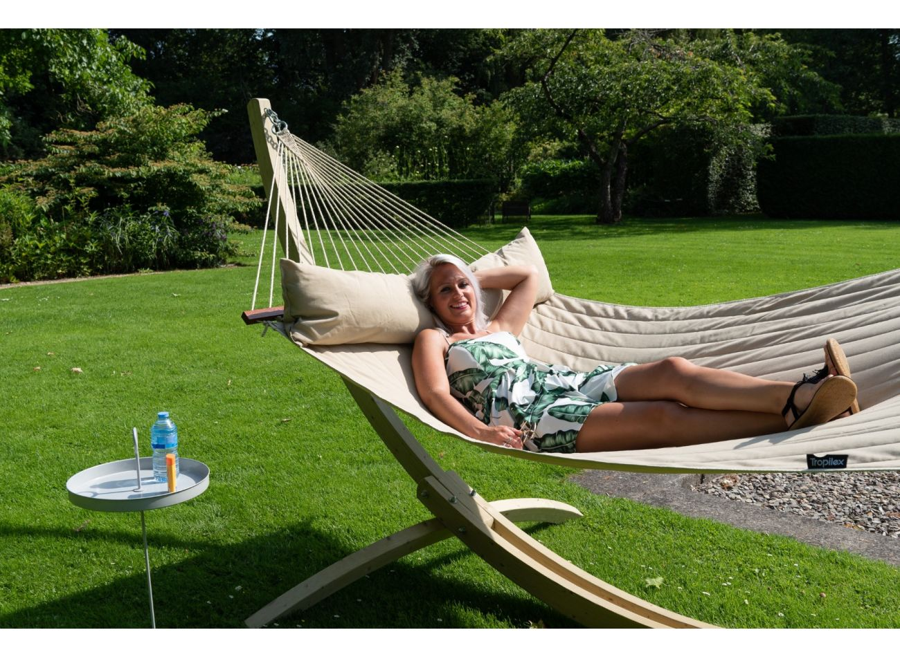 Hammock with Family Stand Wood & Vegas Taupe