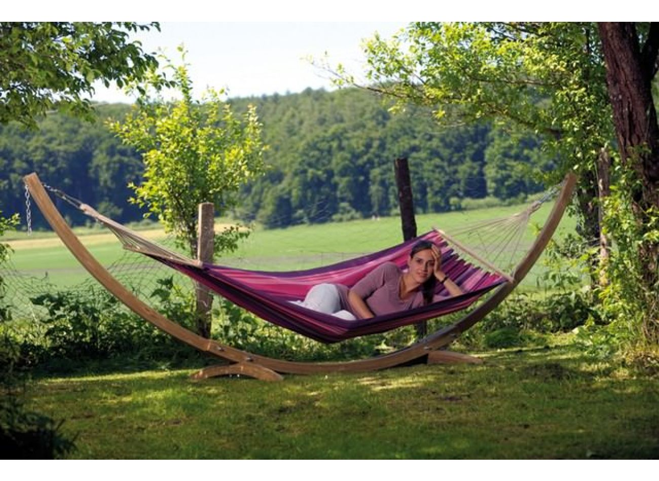 Hammock with 1 Person Stand Pine & Tonga Candy