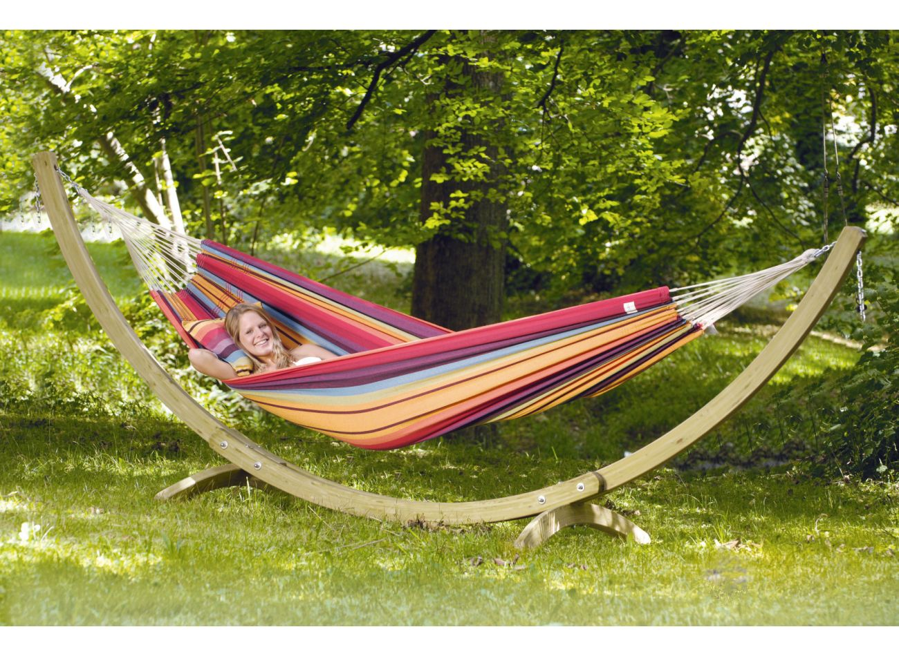 Hammock with 2 Persons Stand Wood & Barbados Rainbow