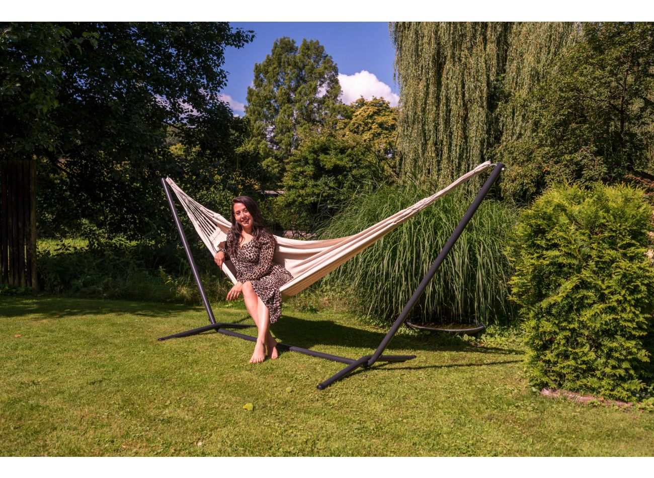 Hammock with 1 Person Stand Easy & Classic White