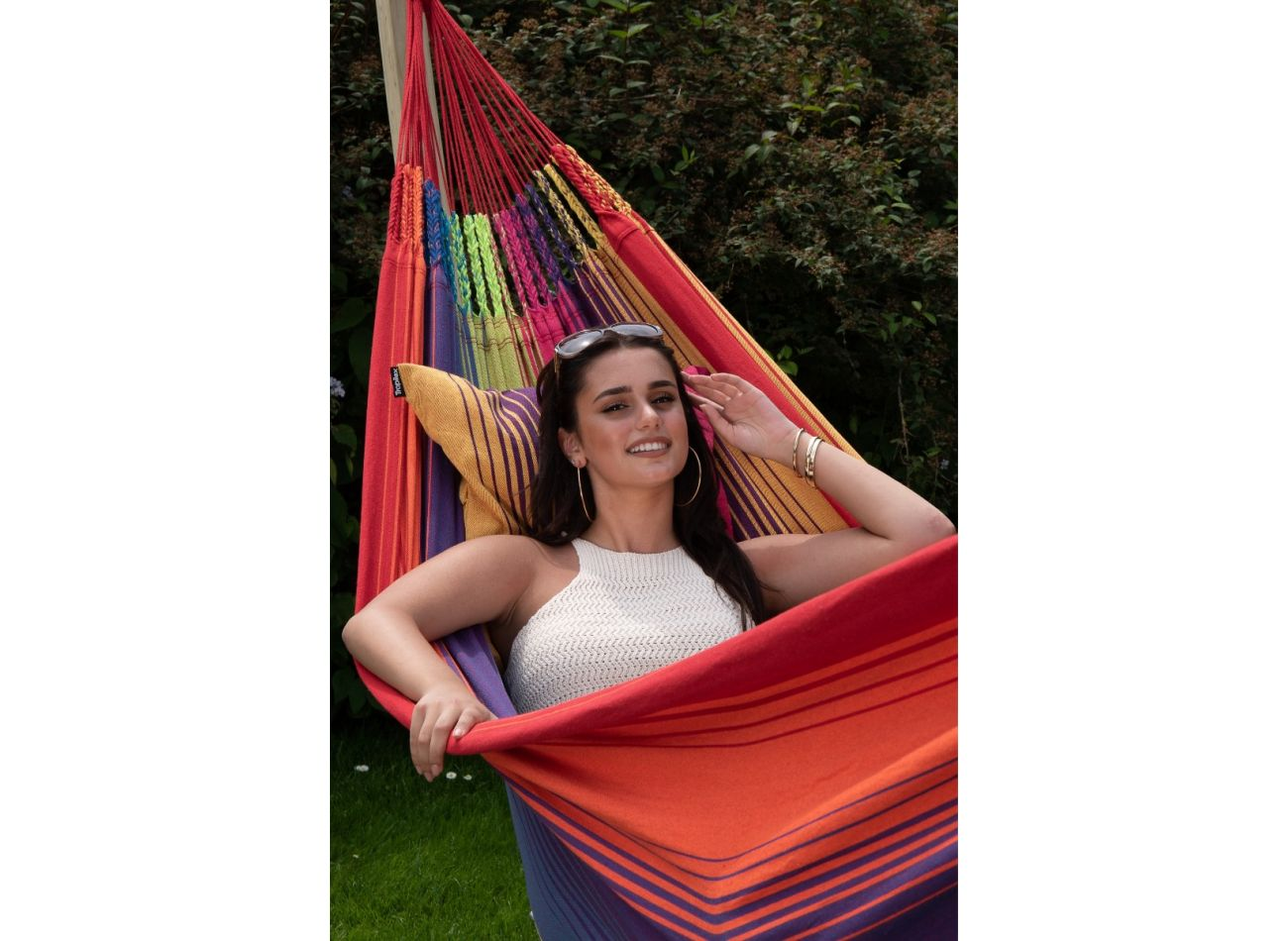 Hammock with Family Stand Wood & Refresh Rainbow