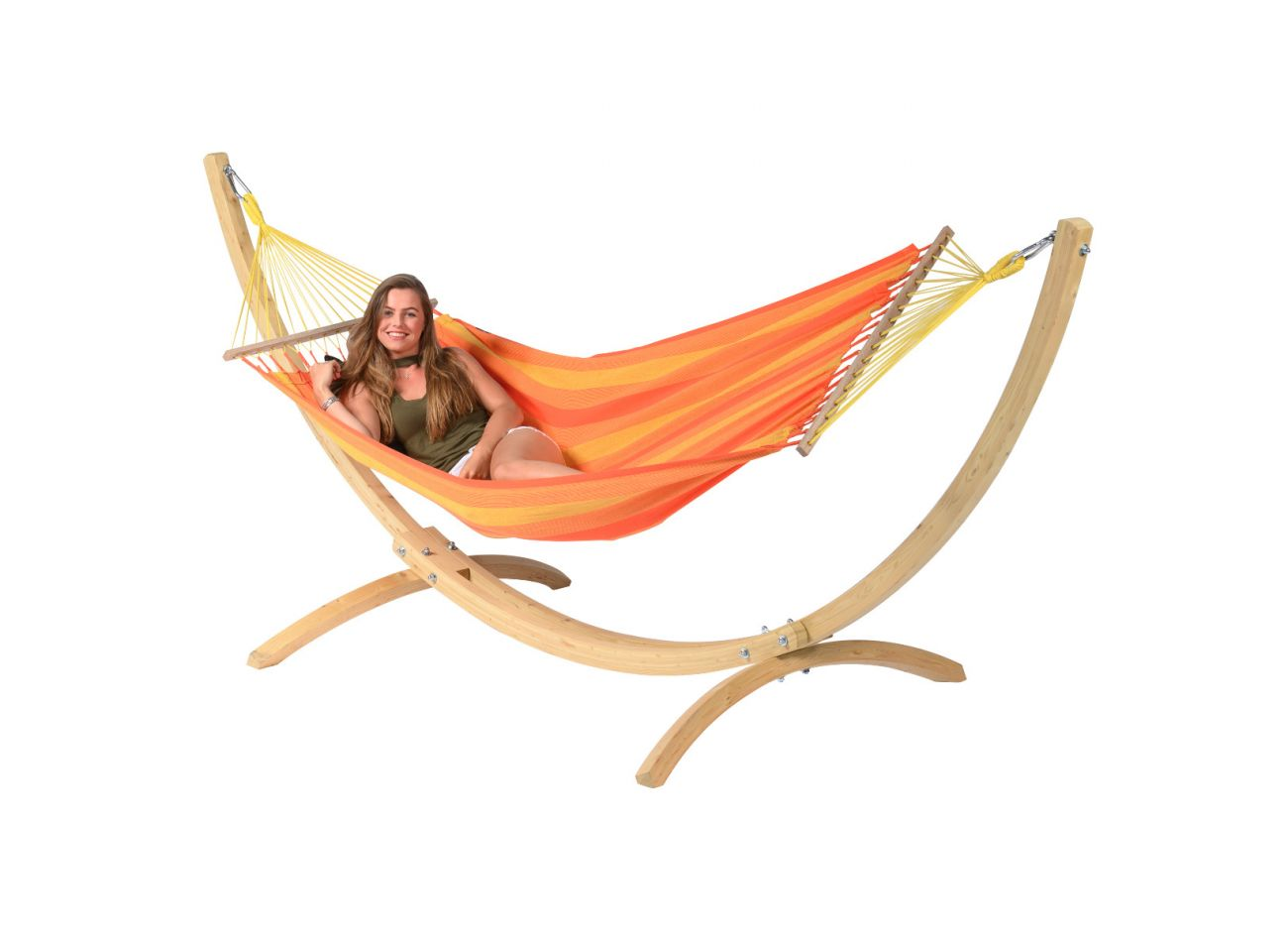 Hammock with 1 Person Stand Wood & Relax Orange