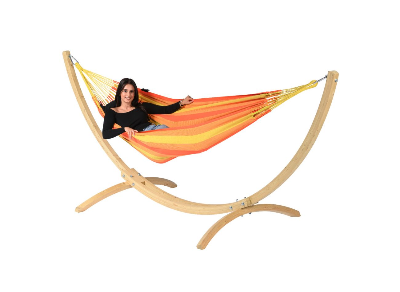 Hammock with 1 Person Stand Wood & Dream Orange